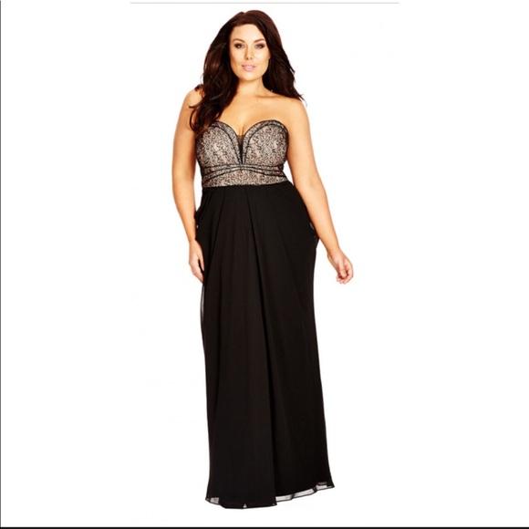 a7755b8b9af City Chic Dresses   Skirts - City Chic Motown Draped Black Chiffon Maxi  Dress